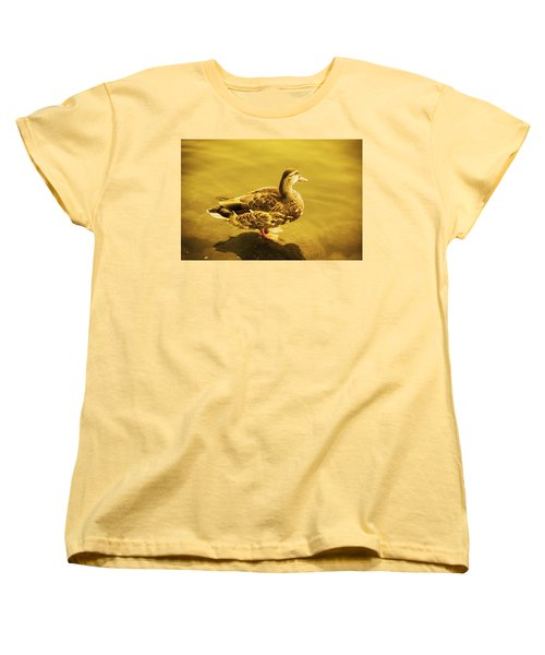 Women's T-Shirt (Standard Cut) featuring the photograph Golden Duck by Nicola Nobile
