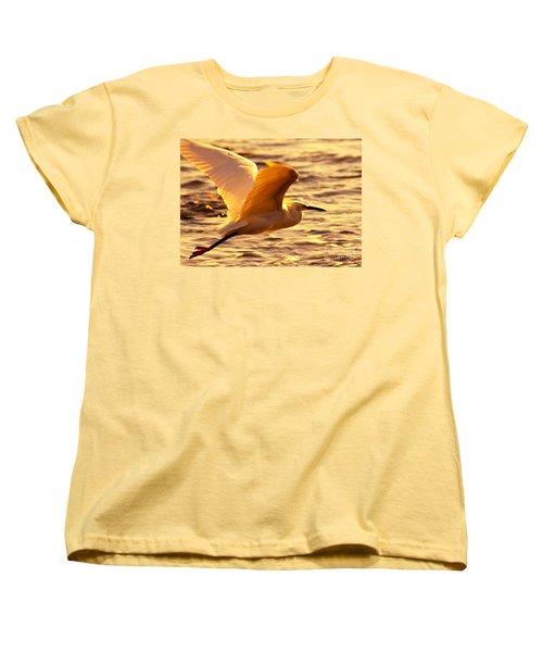 Golden Egret Bird Nature Fine Photography Yellow Orange Print  Women's T-Shirt (Standard Cut) by Jerry Cowart