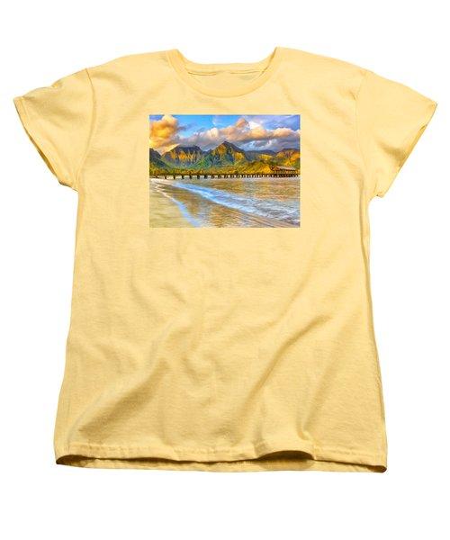 Golden Hanalei Morning Women's T-Shirt (Standard Cut) by Dominic Piperata