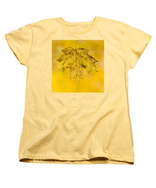 Women's T-Shirt (Standard Cut) featuring the photograph Golden Maple Leaf by Sebastian Musial