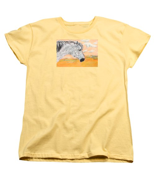Women's T-Shirt (Standard Cut) featuring the painting Golden Sky by Jeanne Fischer