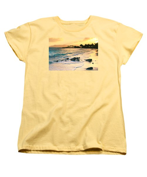 Golden Sunrise On Sapphire Beach Women's T-Shirt (Standard Cut) by Roupen  Baker
