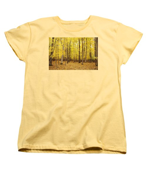 Golden Woods Women's T-Shirt (Standard Cut) by Aimee L Maher Photography and Art Visit ALMGallerydotcom