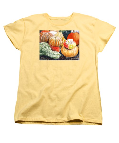 Women's T-Shirt (Standard Cut) featuring the painting Gourds by Carol Flagg