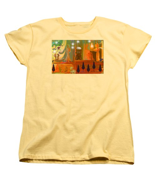 Women's T-Shirt (Standard Cut) featuring the painting Grandpas House For His Little Peeps by Sherri  Of Palm Springs