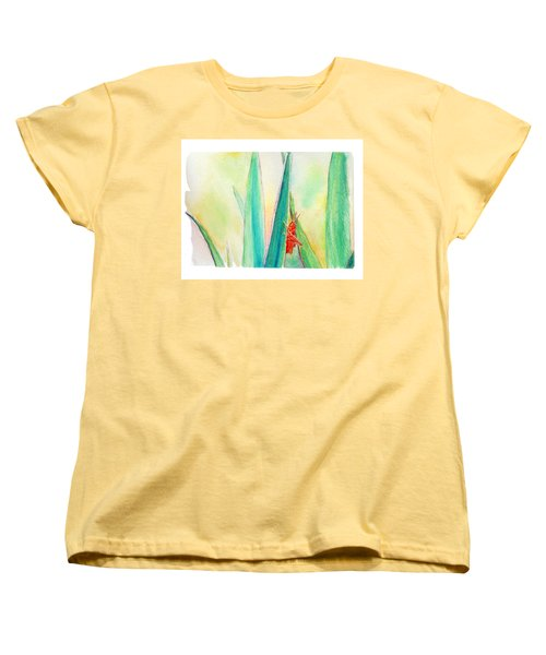 Women's T-Shirt (Standard Cut) featuring the painting Grasshopper by C Sitton