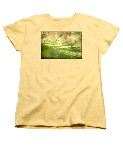 Women's T-Shirt (Standard Cut) featuring the photograph Green Spring Meadow With Flowers by Brooke T Ryan