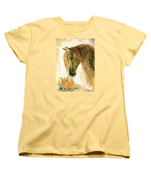Greeting A Sunflower Women's T-Shirt (Standard Cut) by Angela Davies