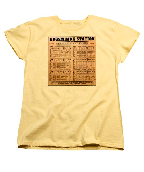 Hogsmeade Station Timetable Women's T-Shirt (Standard Cut) by David Lee Thompson