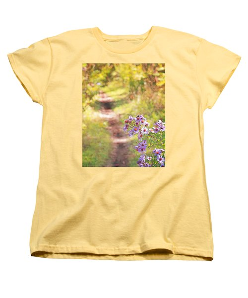 Women's T-Shirt (Standard Cut) featuring the photograph Honey Bee On Purple Aster by Brooke T Ryan
