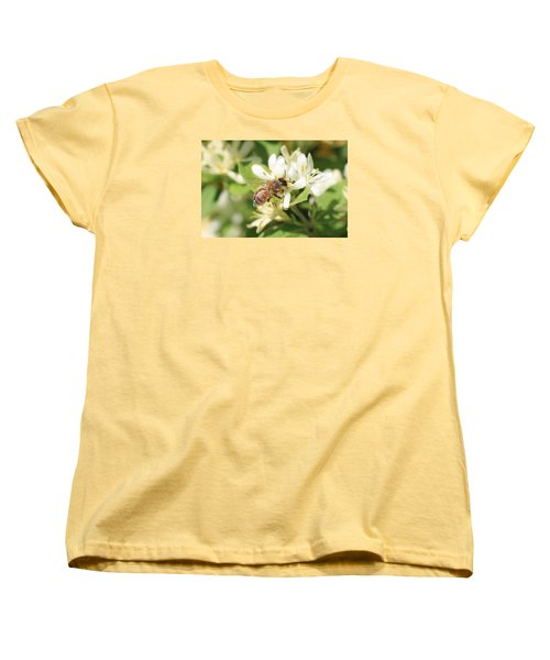 Honeybee And Honeysuckle Women's T-Shirt (Standard Cut) by Lucinda VanVleck