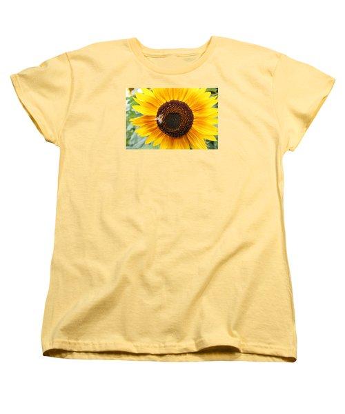 Honeybee On Small Sunflower Women's T-Shirt (Standard Cut) by Lucinda VanVleck