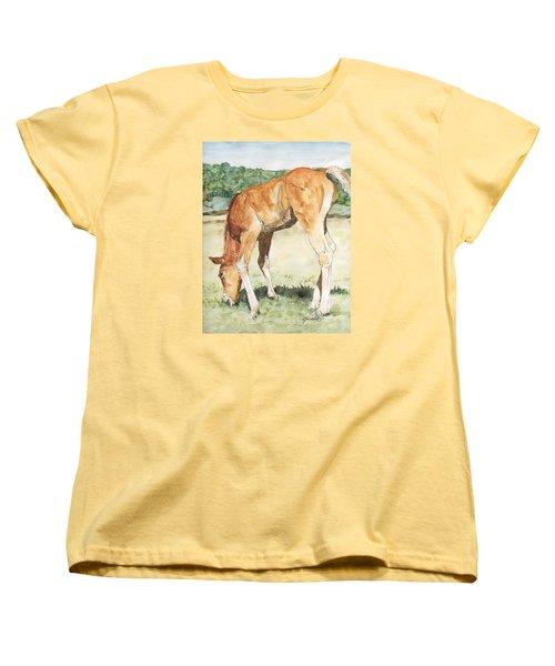 Horse Art Long-legged Colt Painting Equine Watercolor Ink Foal Rural Field Artist K. Joann Russell  Women's T-Shirt (Standard Cut) by Elizabeth Sawyer