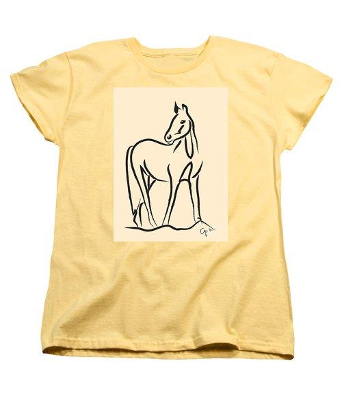 Women's T-Shirt (Standard Cut) featuring the painting Horse - Grace by Go Van Kampen