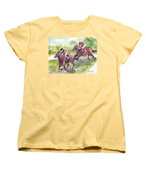 Women's T-Shirt (Standard Cut) featuring the painting Horse Racing by Faruk Koksal