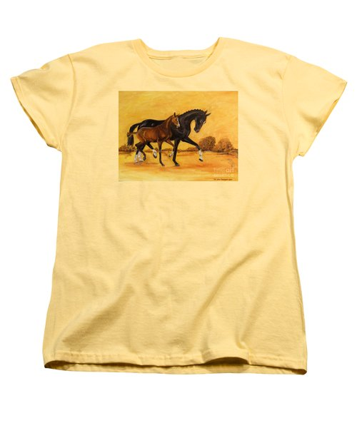 Women's T-Shirt (Standard Cut) featuring the painting Horse - Together 2 by Go Van Kampen