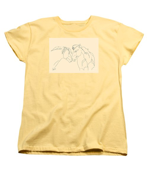 Women's T-Shirt (Standard Cut) featuring the painting Horse - Together 3 by Go Van Kampen