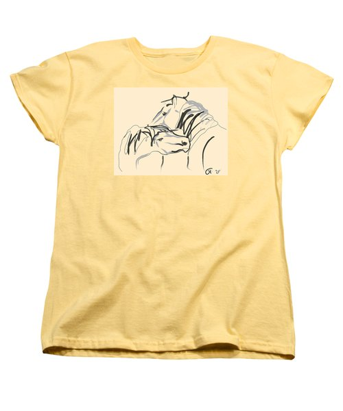 Women's T-Shirt (Standard Cut) featuring the painting Horse - Together 4 by Go Van Kampen