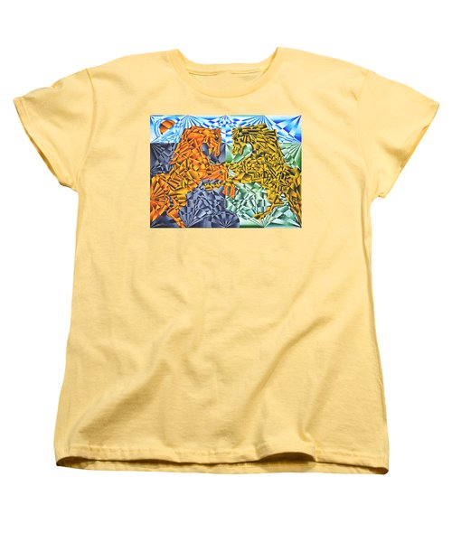 Women's T-Shirt (Standard Cut) featuring the painting Horses Of A Different Color by Joseph J Stevens