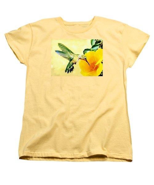 Hummingbird And California Poppy Women's T-Shirt (Standard Cut) by Bob and Nadine Johnston