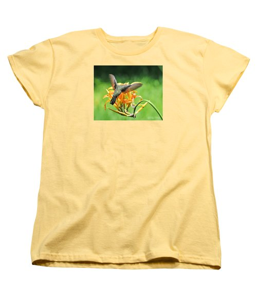 Women's T-Shirt (Standard Cut) featuring the photograph Hummingbird At Lunchtime by David Perry Lawrence