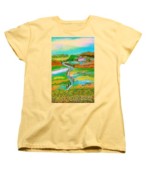 Women's T-Shirt (Standard Cut) featuring the painting  Tuscan Countryside by Loredana Messina
