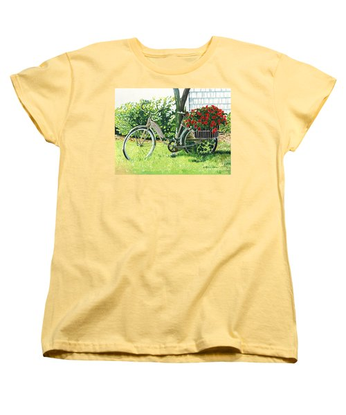 Women's T-Shirt (Standard Cut) featuring the painting Impatiens To Ride by LeAnne Sowa