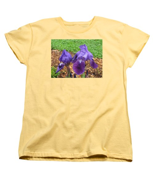 Iris After Rain Women's T-Shirt (Standard Cut) by Katie Wing Vigil