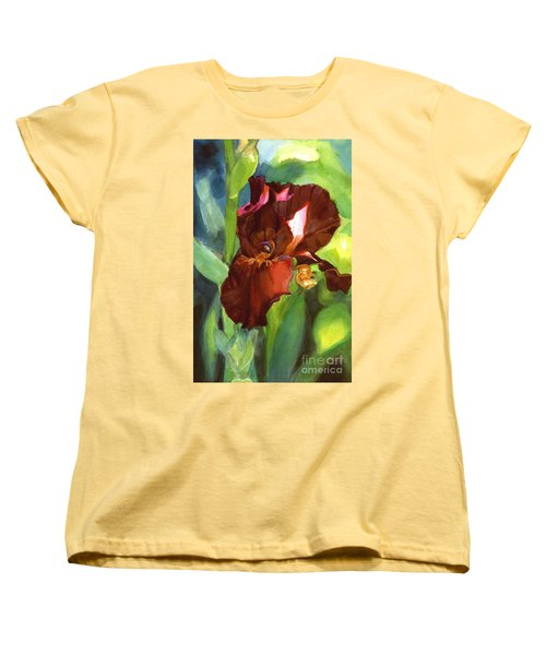 Women's T-Shirt (Standard Cut) featuring the painting Iris Sienna Brown by Greta Corens