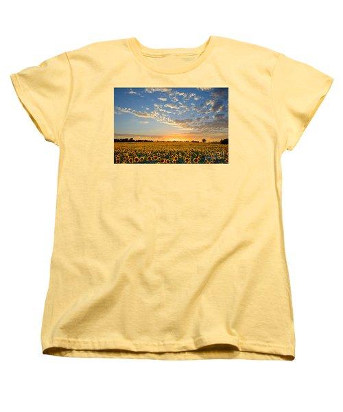 Kansas Sunflowers At Sunset Women's T-Shirt (Standard Cut) by Catherine Sherman