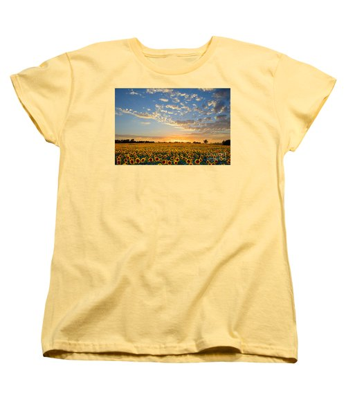 Kansas Sunflowers At Sunset Women's T-Shirt (Standard Cut)