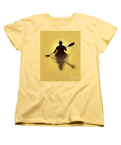 Kayaker Sunset Women's T-Shirt (Standard Cut) by Garry McMichael