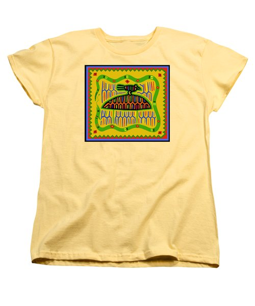 Women's T-Shirt (Standard Cut) featuring the digital art Kuna Bird With Snake by Vagabond Folk Art - Virginia Vivier