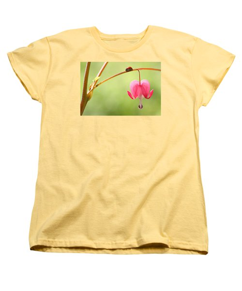 Women's T-Shirt (Standard Cut) featuring the photograph Ladybug And Bleeding Heart Flower by Peggy Collins