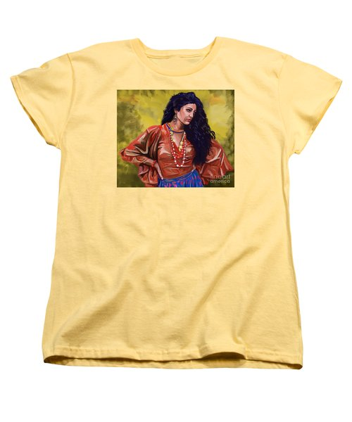 Women's T-Shirt (Standard Cut) featuring the painting Lala Gypsy Girl by Tim Gilliland