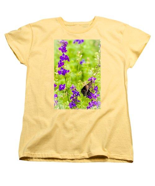Larkspur Visitor Women's T-Shirt (Standard Cut) by Melinda Ledsome