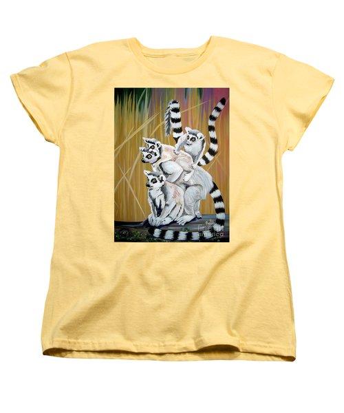 Women's T-Shirt (Standard Cut) featuring the painting Leapin Lemurs by Phyllis Kaltenbach