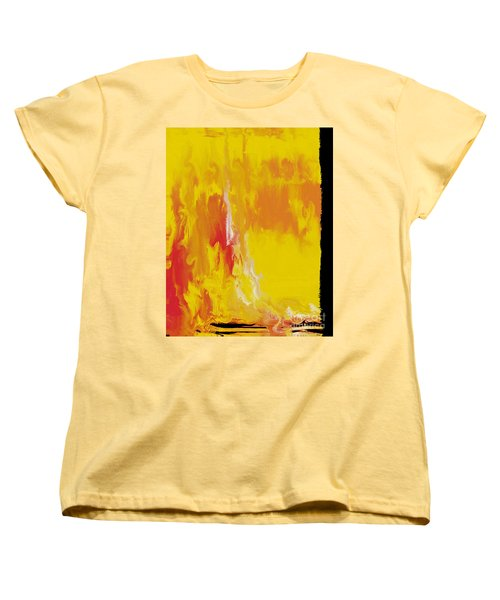 Women's T-Shirt (Standard Cut) featuring the painting Lemon Yellow Sun by Roz Abellera Art