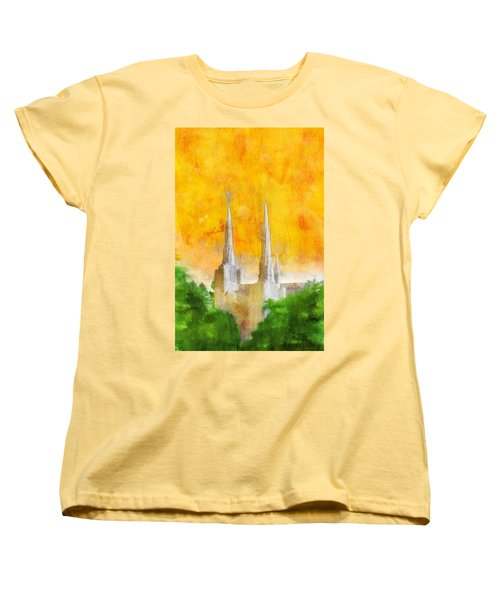 Women's T-Shirt (Standard Cut) featuring the painting Like A Fire Is Burning by Greg Collins
