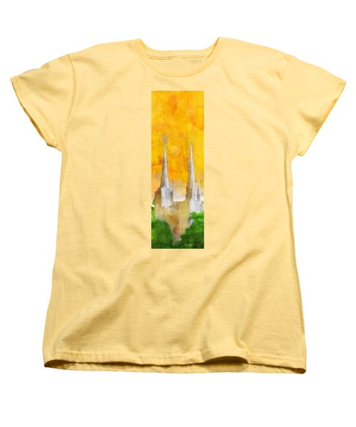 Women's T-Shirt (Standard Cut) featuring the painting Like A Fire Is Burning - Panoramic by Greg Collins