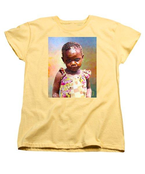 Women's T-Shirt (Standard Cut) featuring the digital art Little Cute Girl by Anthony Mwangi