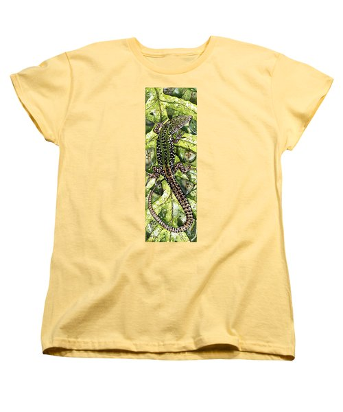 Lizard In Green Nature - Elena Yakubovich Women's T-Shirt (Standard Cut) by Elena Yakubovich