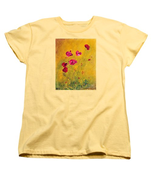Women's T-Shirt (Standard Cut) featuring the painting Lonely Poppies by Teresa Wegrzyn