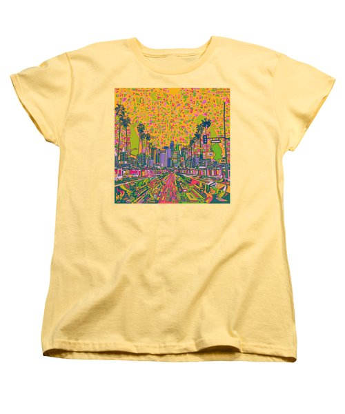 Los Angeles Skyline Abstract Women's T-Shirt (Standard Cut) by Bekim Art