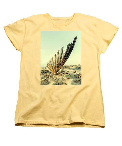 Lost Feather At The Beach Women's T-Shirt (Standard Cut) by Mike Santis