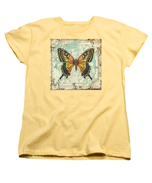 Lovely Yellow Butterfly On Tin Tile Women's T-Shirt (Standard Cut) by Jean Plout