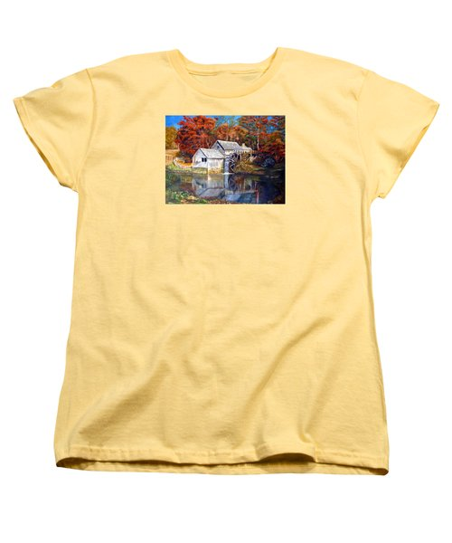 Women's T-Shirt (Standard Cut) featuring the painting Mabry Mill Blue Ridge Virginia by LaVonne Hand