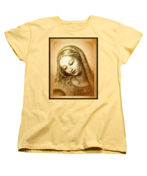 Women's T-Shirt (Standard Cut) featuring the mixed media Madonna With The Dove Face by Ananda Vdovic