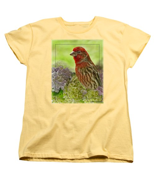 Women's T-Shirt (Standard Cut) featuring the photograph Male Finch In Hydrangesa by Debbie Portwood