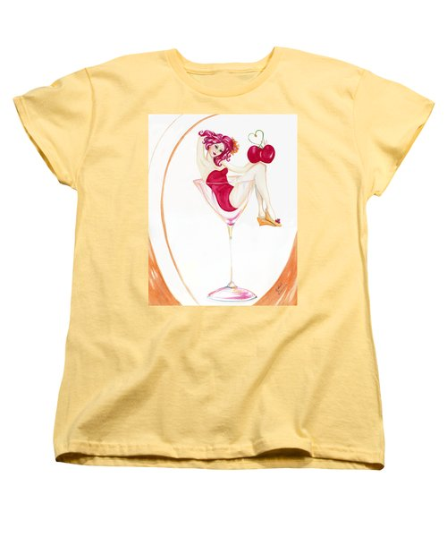 Women's T-Shirt (Standard Cut) featuring the painting Manhattans With Cheri by Nadine Dennis